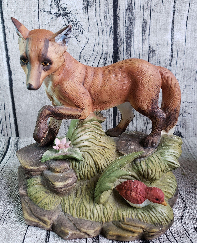 Vintage Red Fox Figurine in Grass with Bird, Woodland
