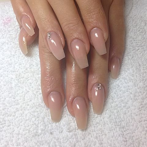 Natural Acrylic Nails Coffin With Diamonds Www Picturesso Com