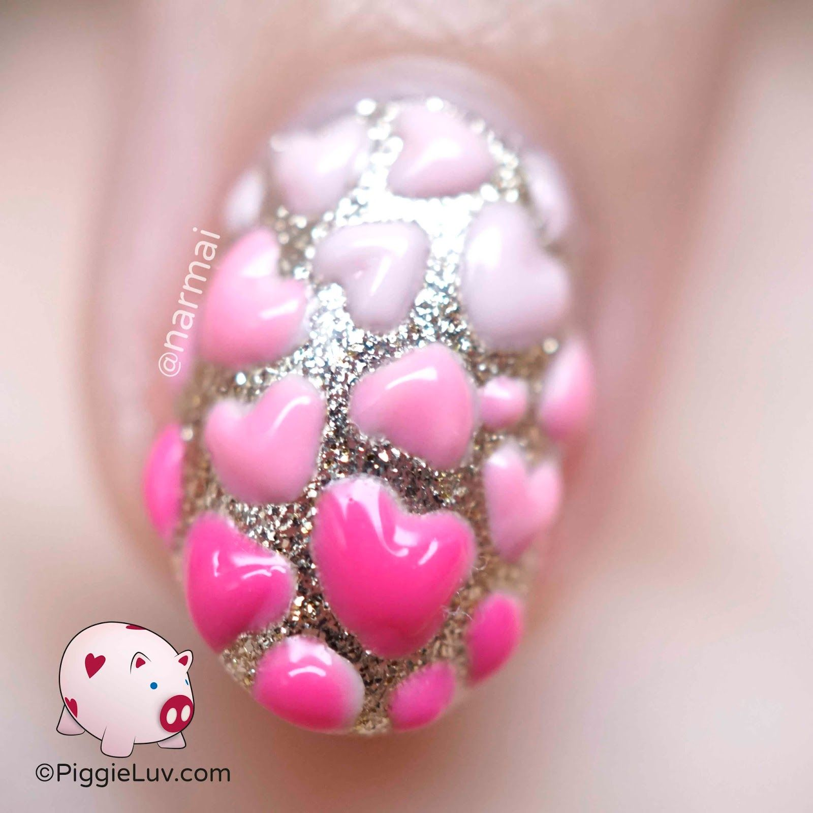 3d Hearts Nail Art For Valentines Day