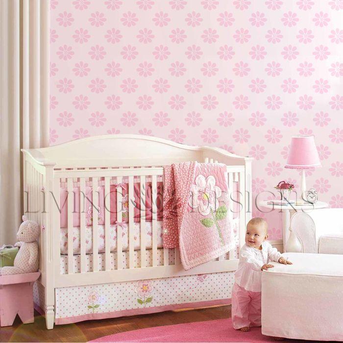 Decoraci n cuarto de bebes con plantillas decorativas for Decoracion habitacion bebe papel pintado