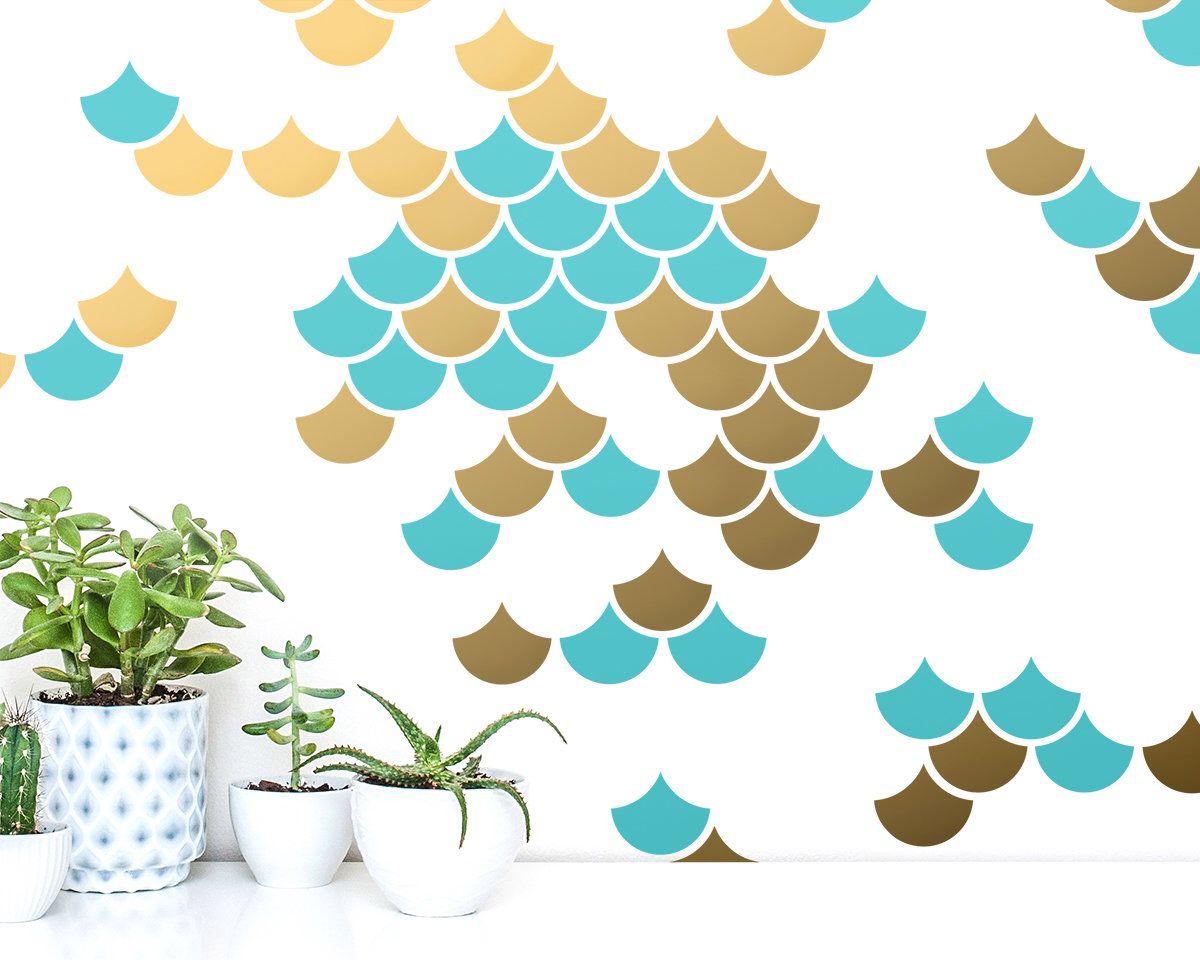 Geometric Decals Modern Wall Decals Mermaid Scale Wall Decals Nursery Decals