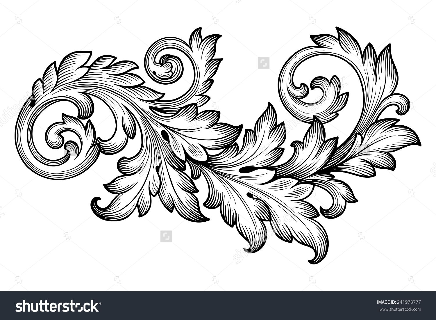 Stock vector vintage baroque frame scroll ornament