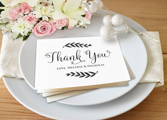 Thank You Card Template Wedding Thank You Printable Folded - microsoft word thank you card template