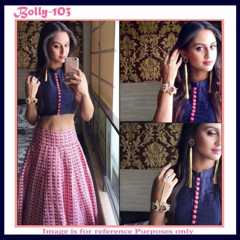 Bollywood Replica   Blue   Pink Crop Top With Printed Skirt   Bolly 103. Bollywood Replica   Blue   Pink Crop Top With Printed Skirt