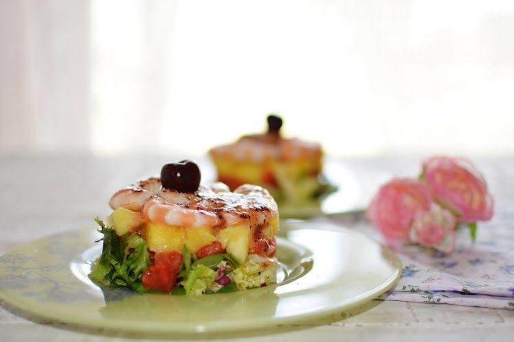 La cocina de Vifran: Ensalada de piña y langostinos con vinagreta de cerezas
