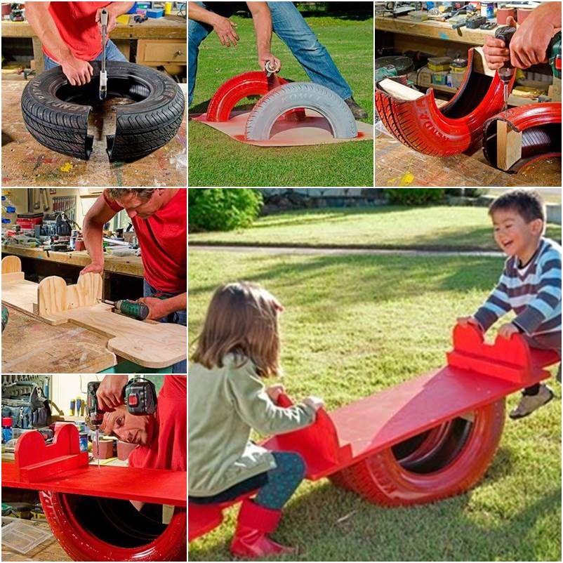 Wippe aus alten Reifen bauen (mit Bildern) | Wippe