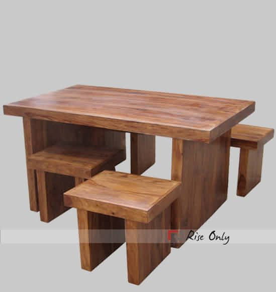 Indian Wooden Dining Table Set With 4 Stools Made In Sheesham Wood By Riseonly