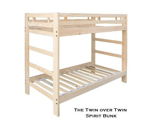 Twin over Twin Spirit Bunk Bed Natural Unfinished Solid Wood