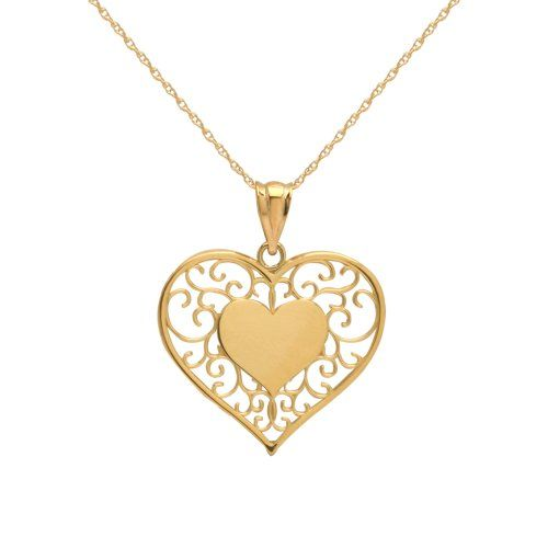 Klassics 10k yellow gold filigree heart pendant necklace from amazon klassics 10k yellow gold filigree heart pendant necklace from amazon curated collection list price 10600 aloadofball Gallery