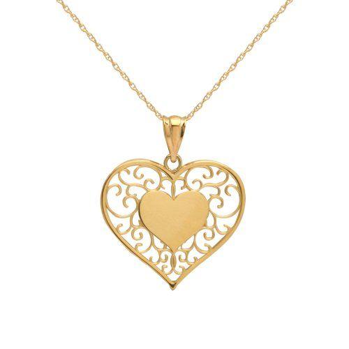 Klassics 10k yellow gold filigree heart pendant necklace from klassics 10k yellow gold filigree heart pendant necklace from amazon curated collection list price 10600 aloadofball Choice Image