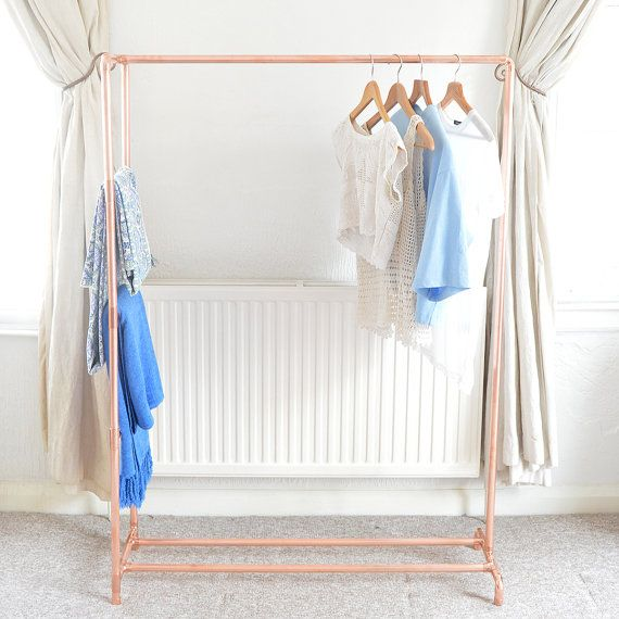 copper pipe clothing rail garment rack clothes storage with ladder selbermachen. Black Bedroom Furniture Sets. Home Design Ideas