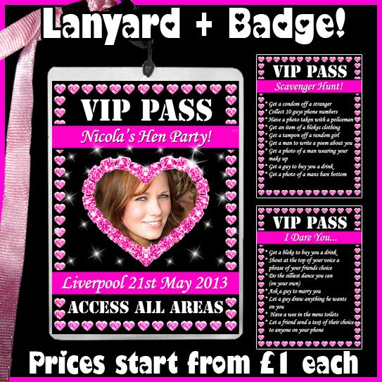 Badges Hen Night Party  Photo Dare Card Personalised L-Plates VIP Pass Lanyard