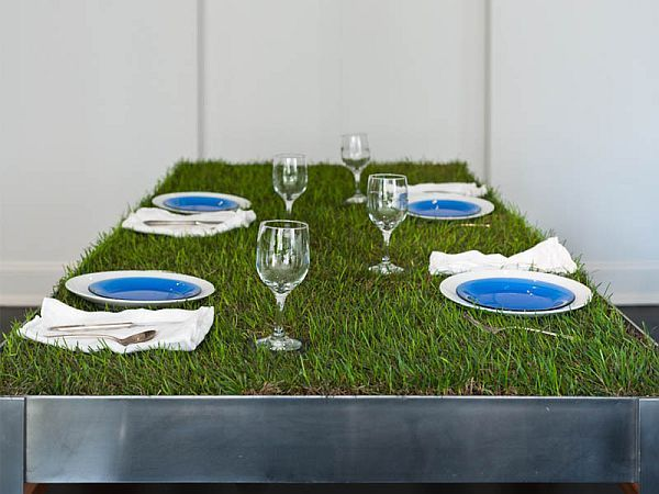 Artificial Grass Table Top, Great Idea For Outdoor DIY Furniture