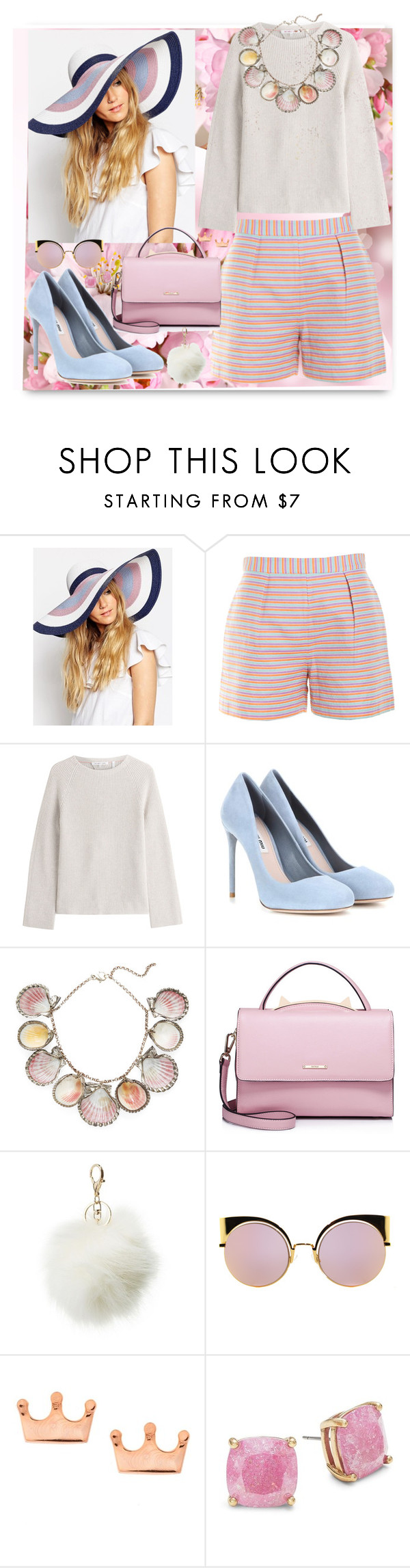 """pink flowers"" by clairabel16 ❤ liked on Polyvore featuring ASOS, Hutch, Helmut Lang, Miu Miu, Paolo Costagli, WithChic, Charlotte Russe, Fendi, Mminimal and Kate Spade"