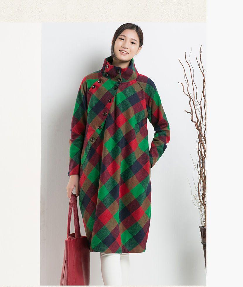 Woolen dress Long sleeve dress High Collar Casual loose dress ...