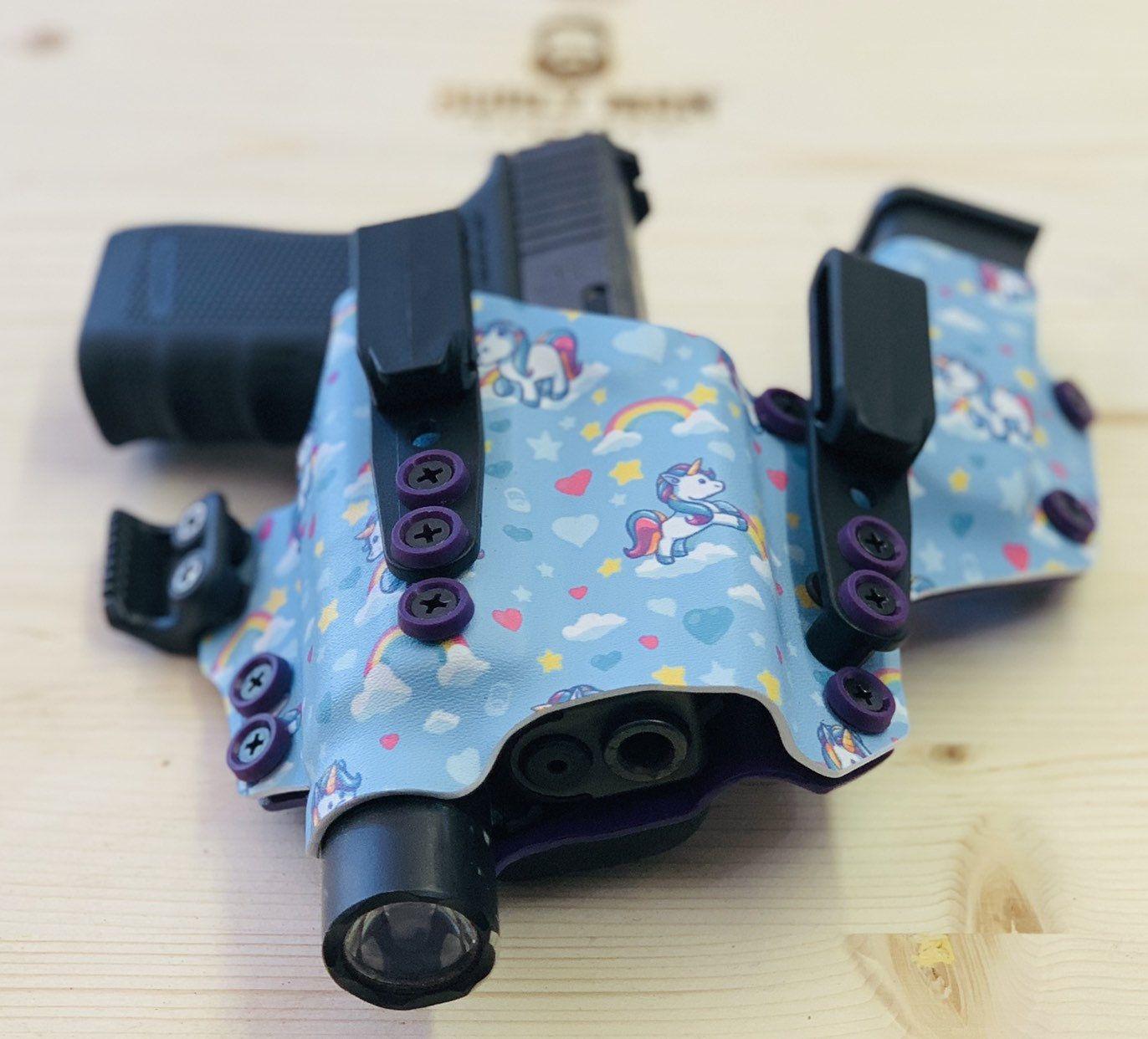 Glock 19 TLR1 Unicorn Print Purple Kydex Holster Sidecar
