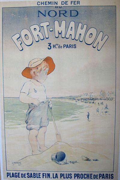 vintage railway travel poster fort mahon plage de sable fin la plus proche de paris by j. Black Bedroom Furniture Sets. Home Design Ideas
