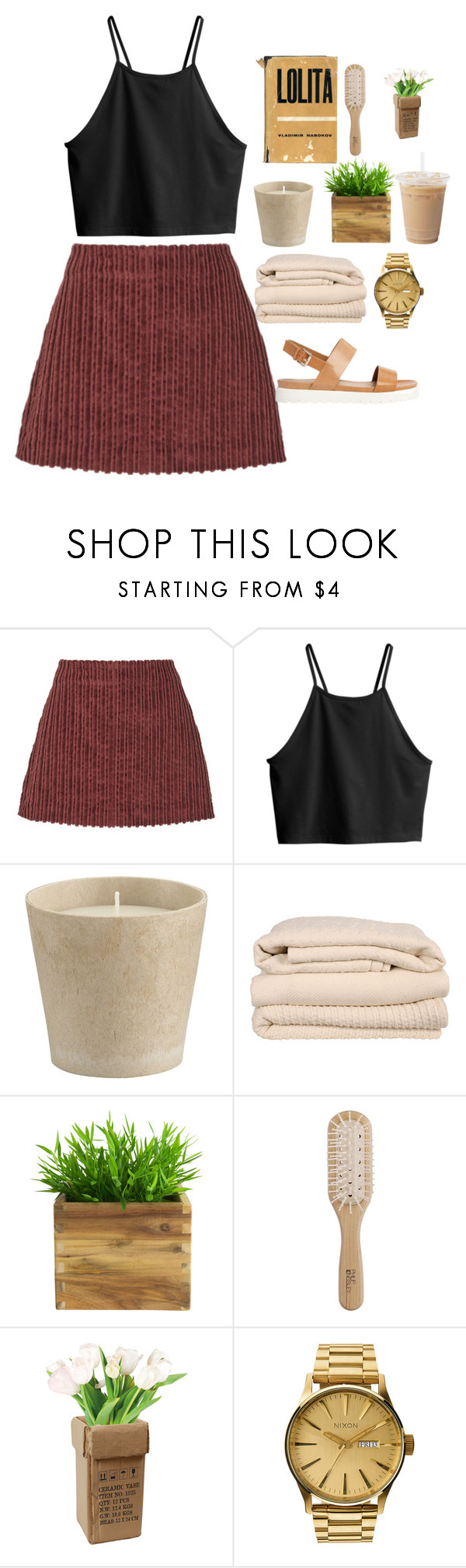 """""""Shiver"""" by chloeflo33 ❤ liked on Polyvore featuring Isa Arfen, H&M, Crate and Barrel, Brahms Mount, Philip Kingsley, Nixon, ALDO, women's clothing, women and female"""