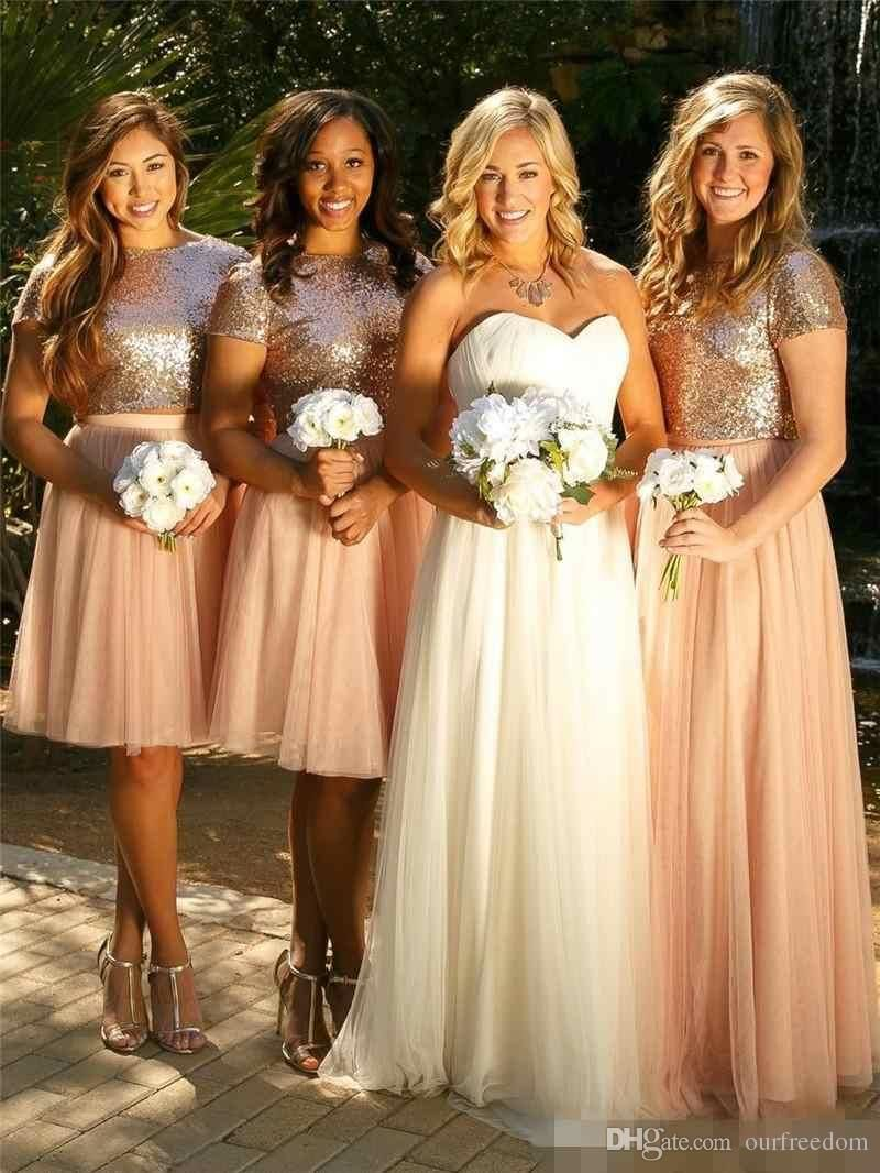 Cheap sparkly rose god sequins bridesmaid dresses 2017 two piece cheap sparkly rose god sequins bridesmaid dresses 2017 two piece crew neck weeding guest gown maid ombrellifo Gallery