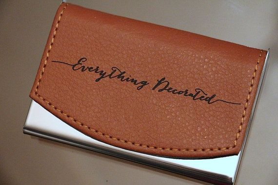 Custom Engraved Leather Business Card Holder Groomsmen Gift Personalized Case Groomsman