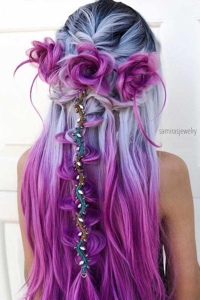 Photo of Lange Meerjungfrau Silber und lila Haarfarbe #ombrehair #purplehair ★ Entdecken Sie …