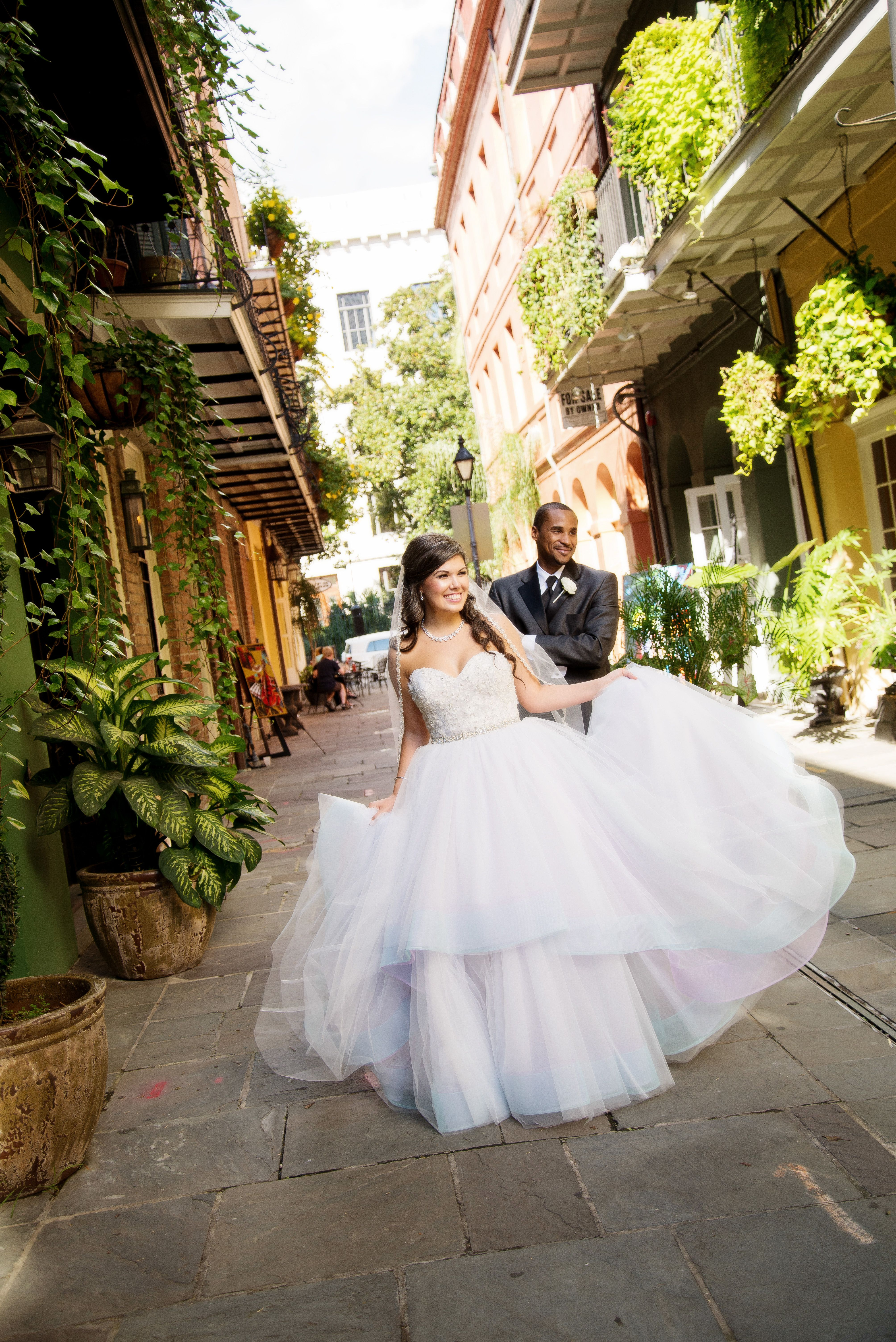 Dress lazaro fun couple on colorful new orleans street kleinfeld