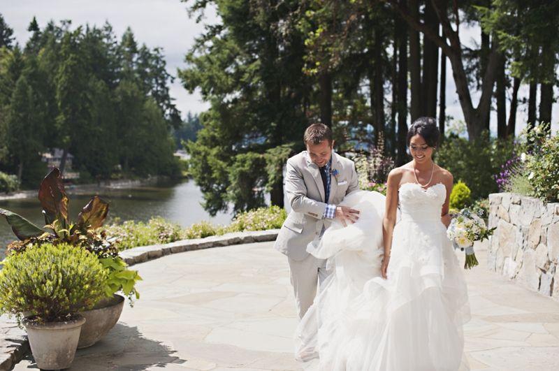A Blue and Yellow Washington Backyard Wedding