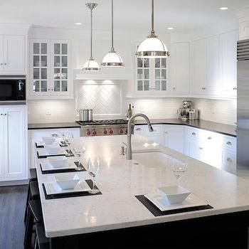 White Granite Countertops, Traditional, Kitchen, Mullet Cabinets