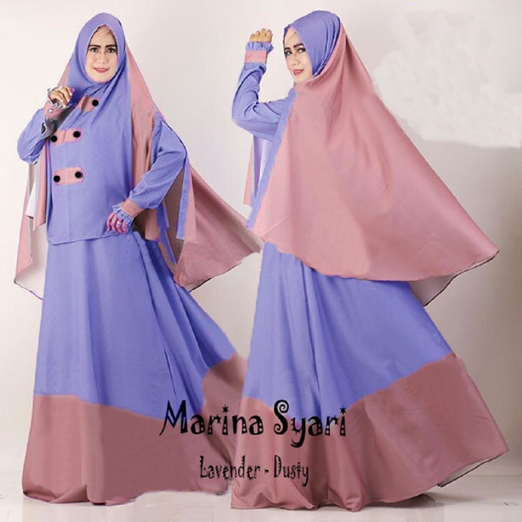 Model Baju Gamis Terbaru Ready Marina Lilac Dusty Harga Terjangkau Lakesha Tunik