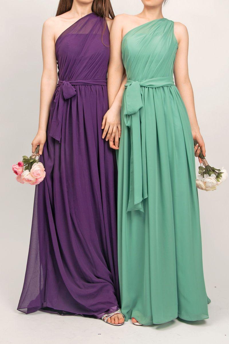 Long One Shoulder Bridesmaid Dress with Sash TBQP246   Shoulder ...