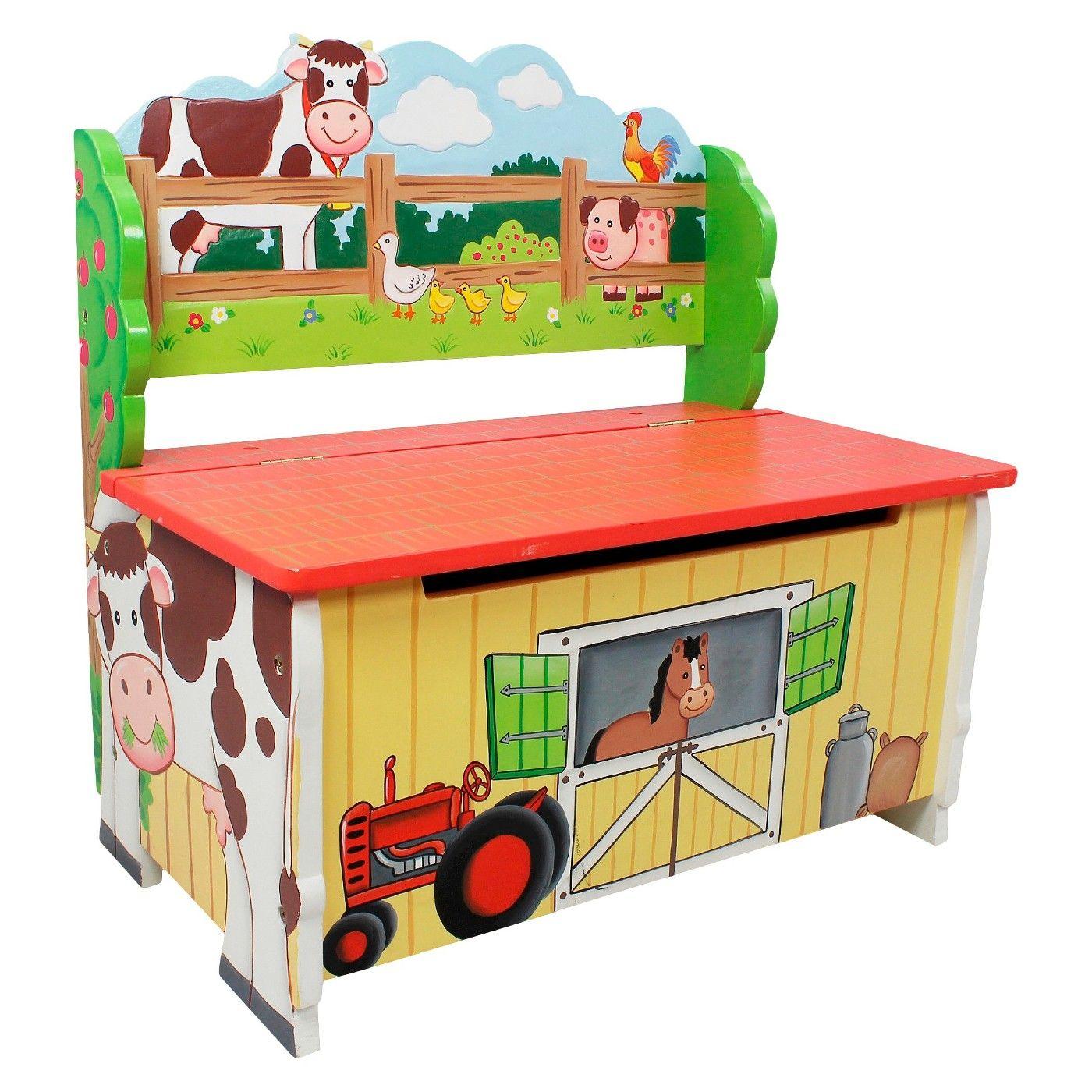 Fantasy Fields Happy Farm Storage Bench Wood Teamson