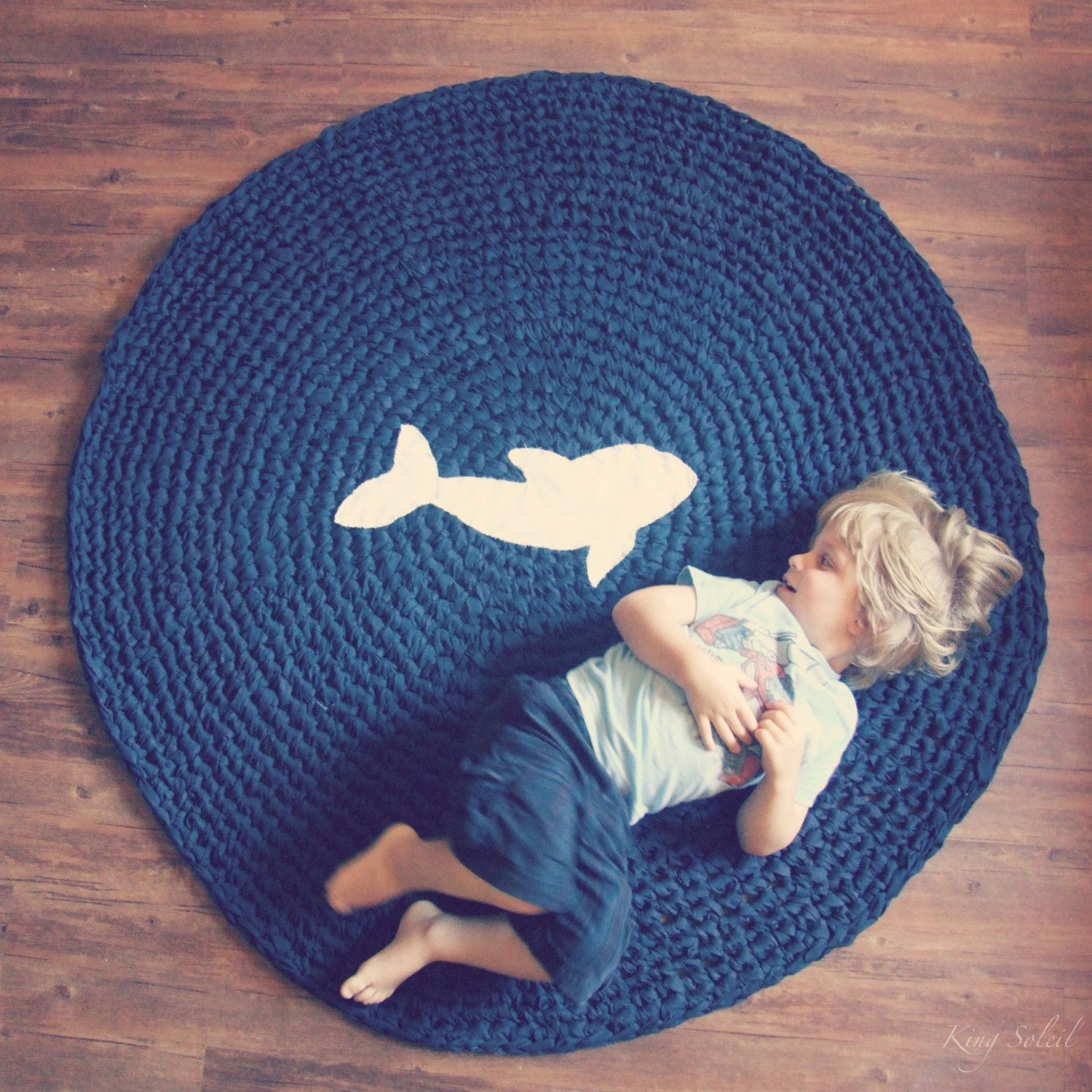 Crochet Whale Rug Nautical Navy Blue With White Lique Silhouette Cotton Round Play Mat