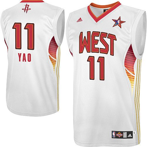 Yao Ming Jersey, Adidas Houston Rockets #11 Western Conference White NBA  2009 All Star