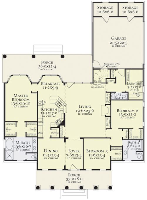 Coleridge 5556 3 Bedrooms And 2 Baths The House Designers House Plans One Story Homes Story House