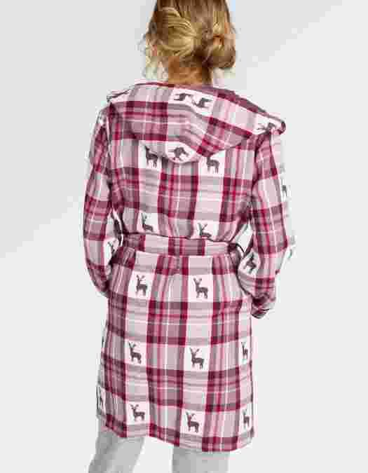 Main image showing Reindeer Jacquard Check Dressing Gown   My Fat ...