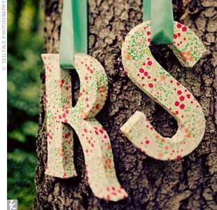 would love to hang our initials on the trees for our reception