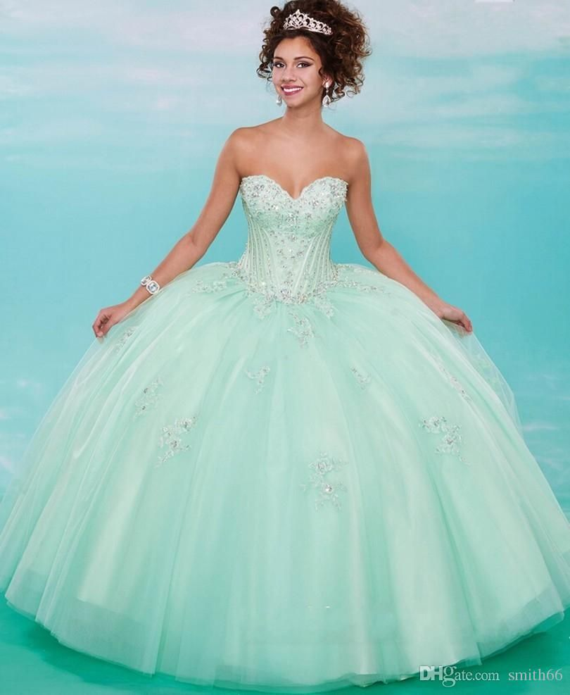 Cheap Luxury Mint Green Quinceanera Dresses 2016 Tulle Sweetheart ...