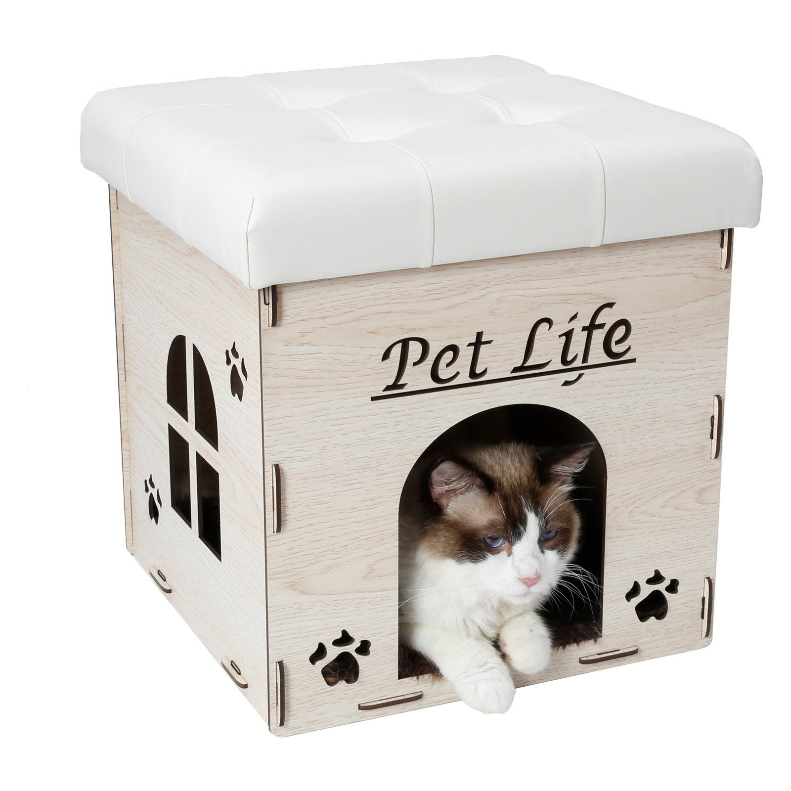 Pet Life Foldaway Collapsible Cat House Bench Outdoor Cat House Cat House Bench Furniture
