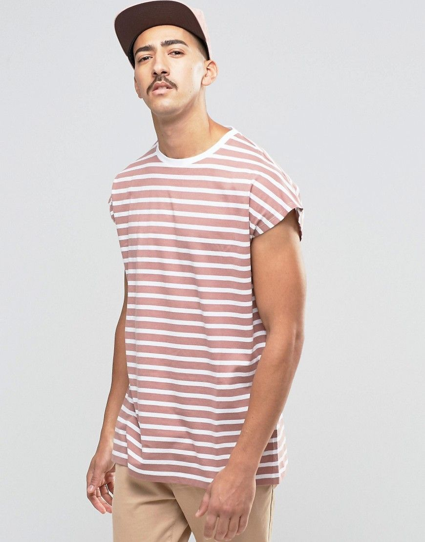 Get this Asos's striped t-shirt now! Click for more details. Worldwide shipping. ASOS Oversized Sleeveless T-Shirt With Stripe In Pink - Pink: Striped T-shirt by ASOS, Lightweight jersey, Crew neck, Oversized fit - falls generously over the body, Machine wash, 100% Cotton, Our model wears a size Medium and is 184cm/6'0.5 tall.  (camiseta de rayas, striped, stripe, líneas, lineas, gestreiftes t-shirt, playera a rayas, t-shirt à rayures, maglietta a righe)