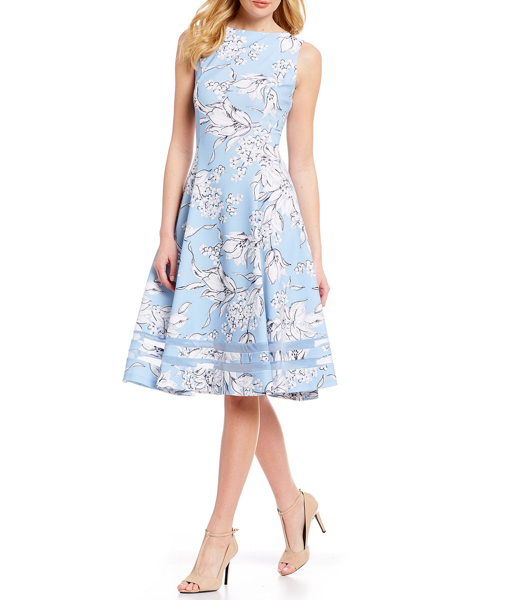 ff40657af09 Calvin Klein Sketch Floral Print Illusion Hem Sleeveless Fit   Flare Midi  Dress  Dillards