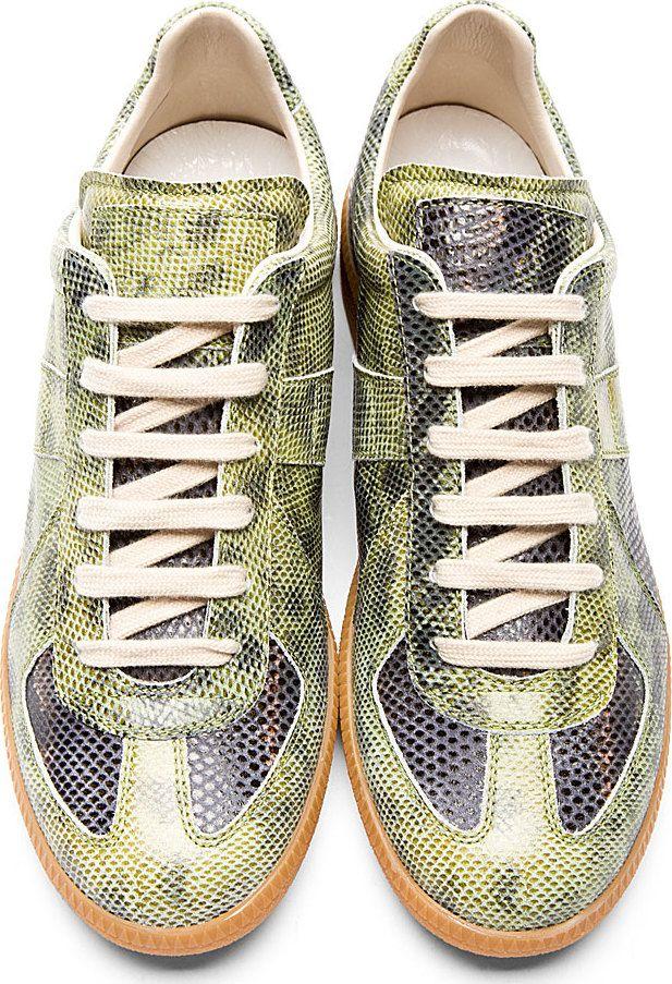 daea88ef3 Maison Martin Margiela  Green Snakeskin Replica Sneakers