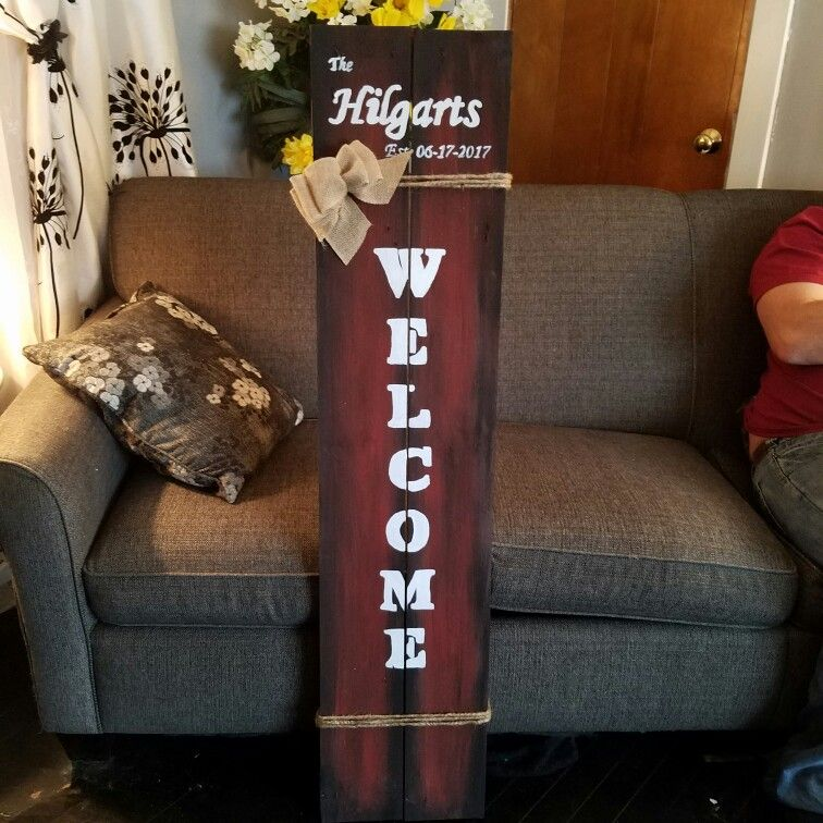 My hand painted Welcome sign