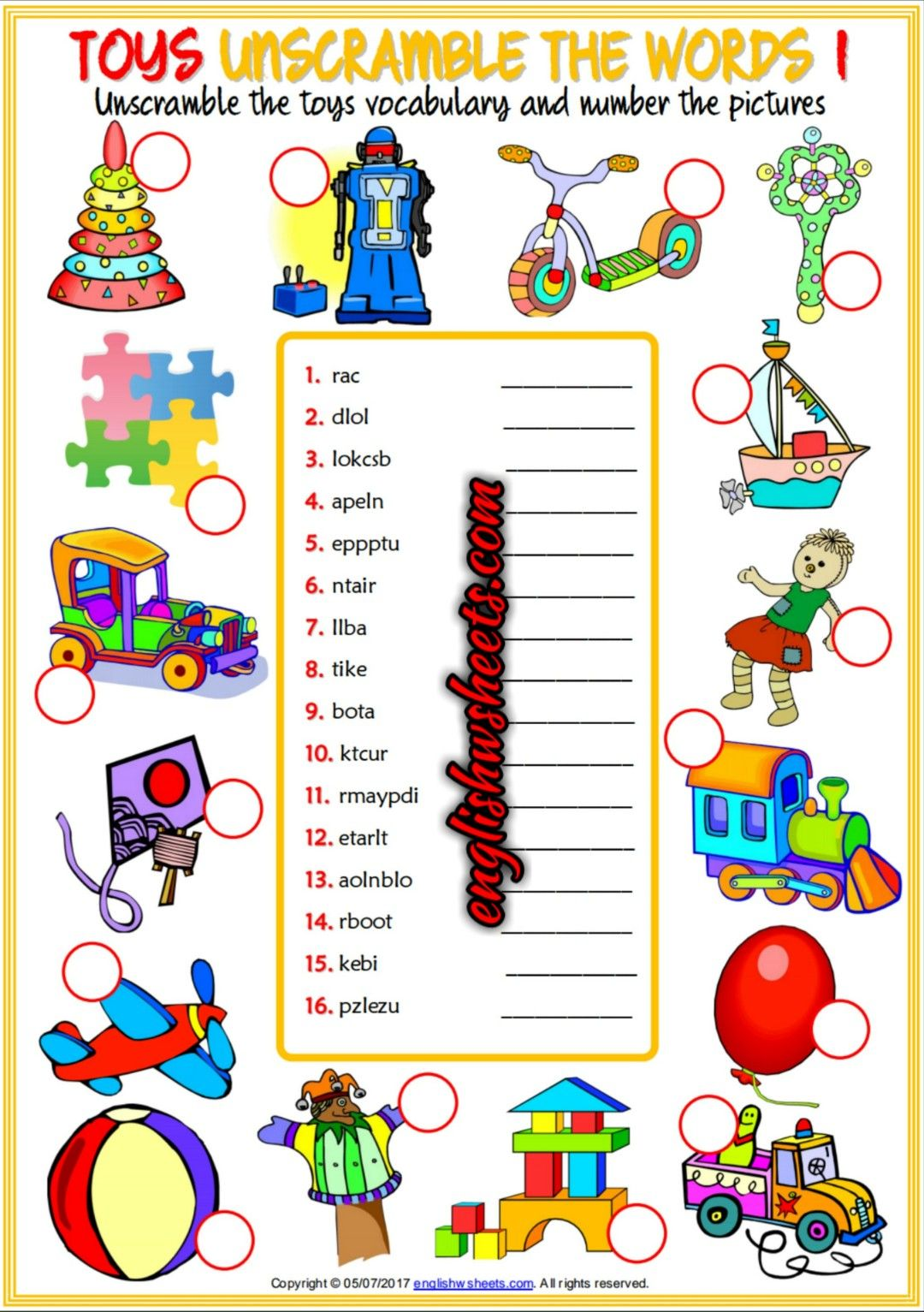 Toy Vocabulary Game : Toys esl printable unscramble the words worksheets for