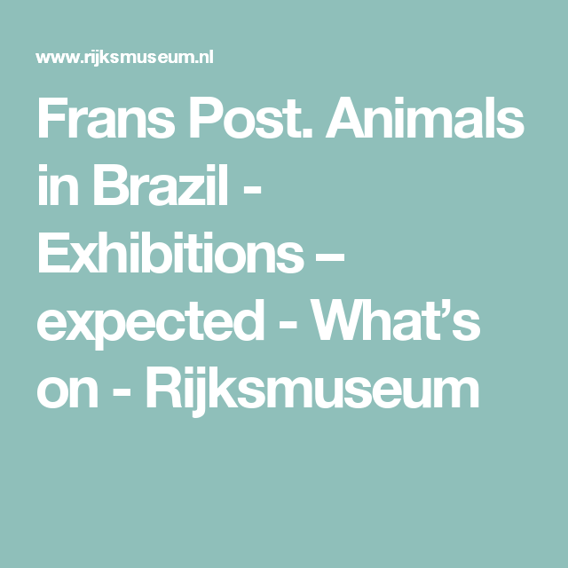 Frans Post. Animals in Brazil - Exhibitions – expected - What's on - Rijksmuseum