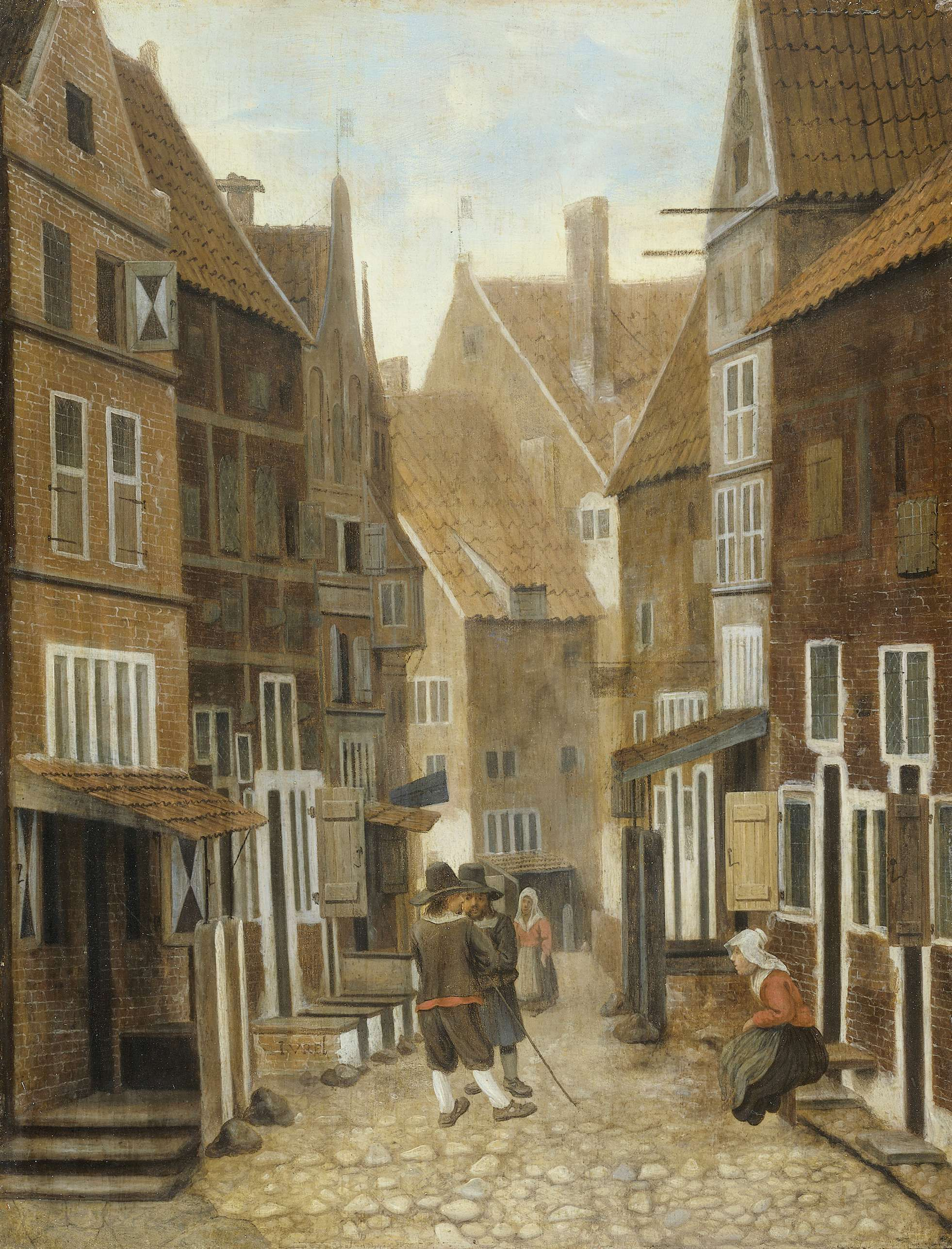 Jacob Vrel, View of a Town, 1654 - 1662.  Oil on panel, h 36 cm × w 28 cm.