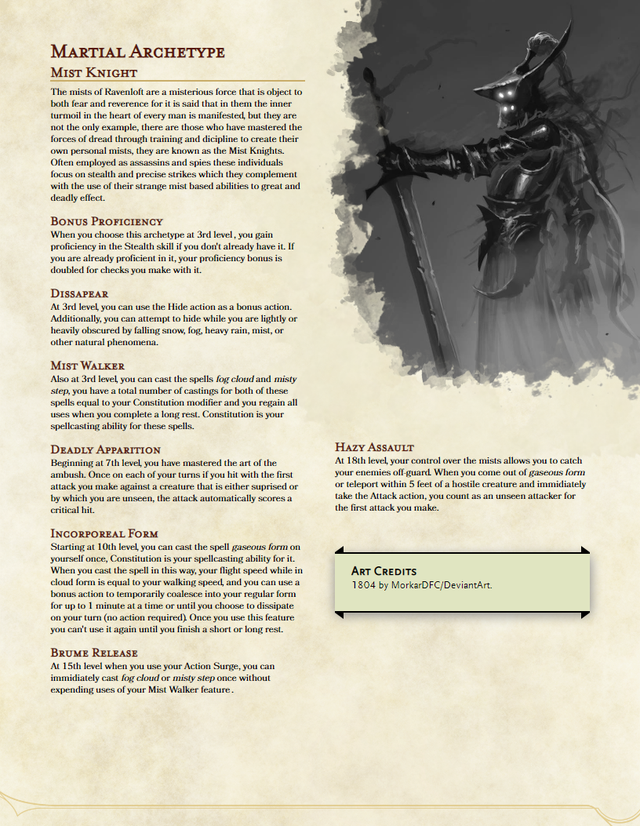 Martial Archetype The Mist Knight A Stealth Focused Fighter Who Uses A Couple Thematic Spells To Deadly Effect Unearthedarcana Nel 2020 Idee Giochi