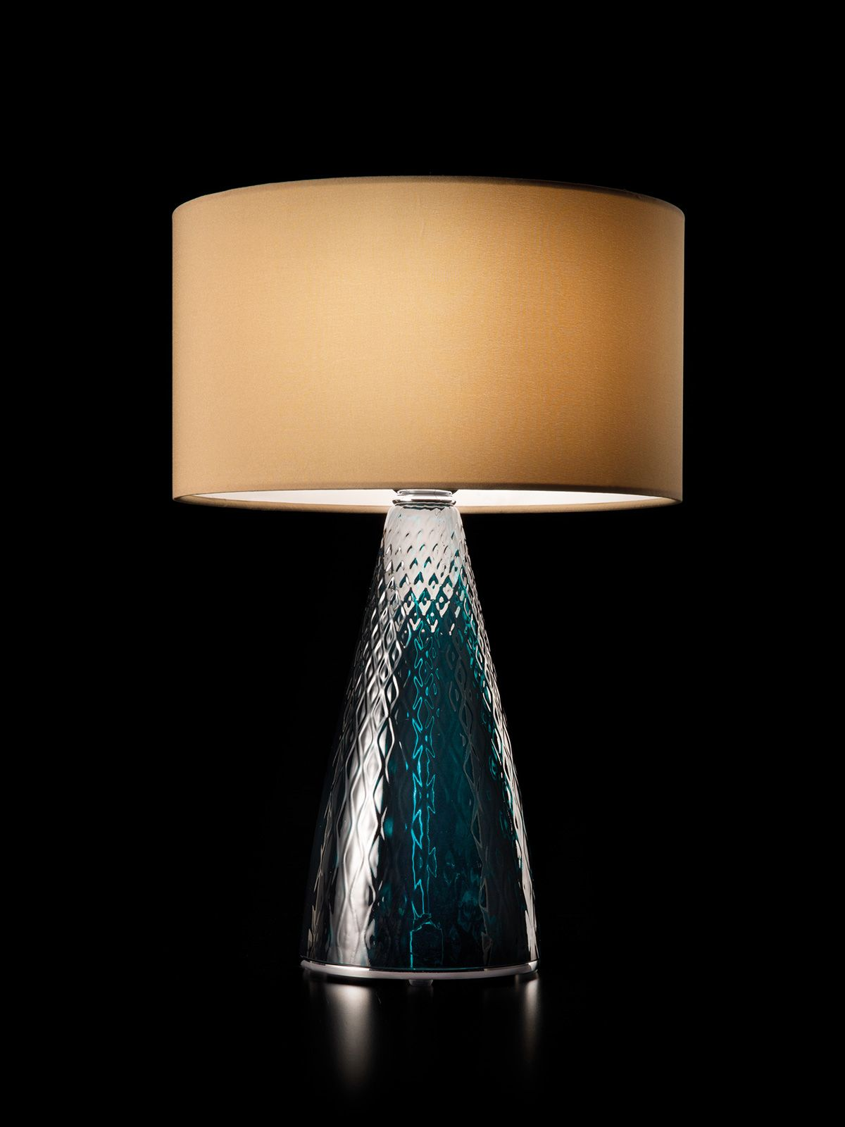 Cheers Table Lamp In Colored Glass With Blue Or Hazelnut
