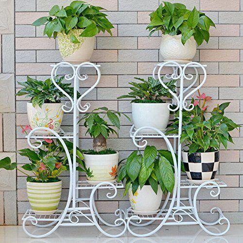 4 Tire Ground Type Metal Planter Holder Garden Flower Pot Rack Plant Stand 0 1