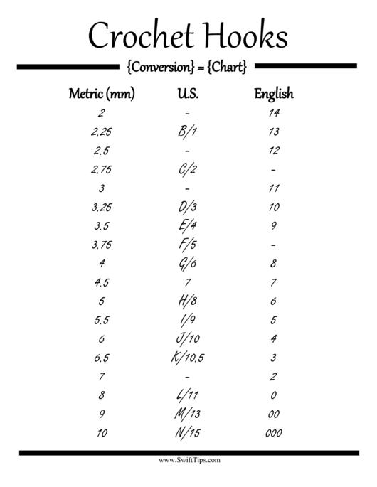 Crochet Hook Conversion Chart printable pdf download