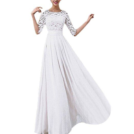 SODIAL(R) Chiffon Spitze Brautkleid Ballkleid Abendkleid ...